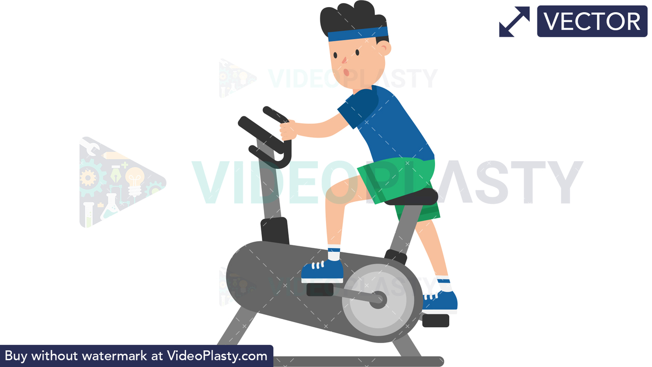 Man on an Exercise Bike Vector Clipart