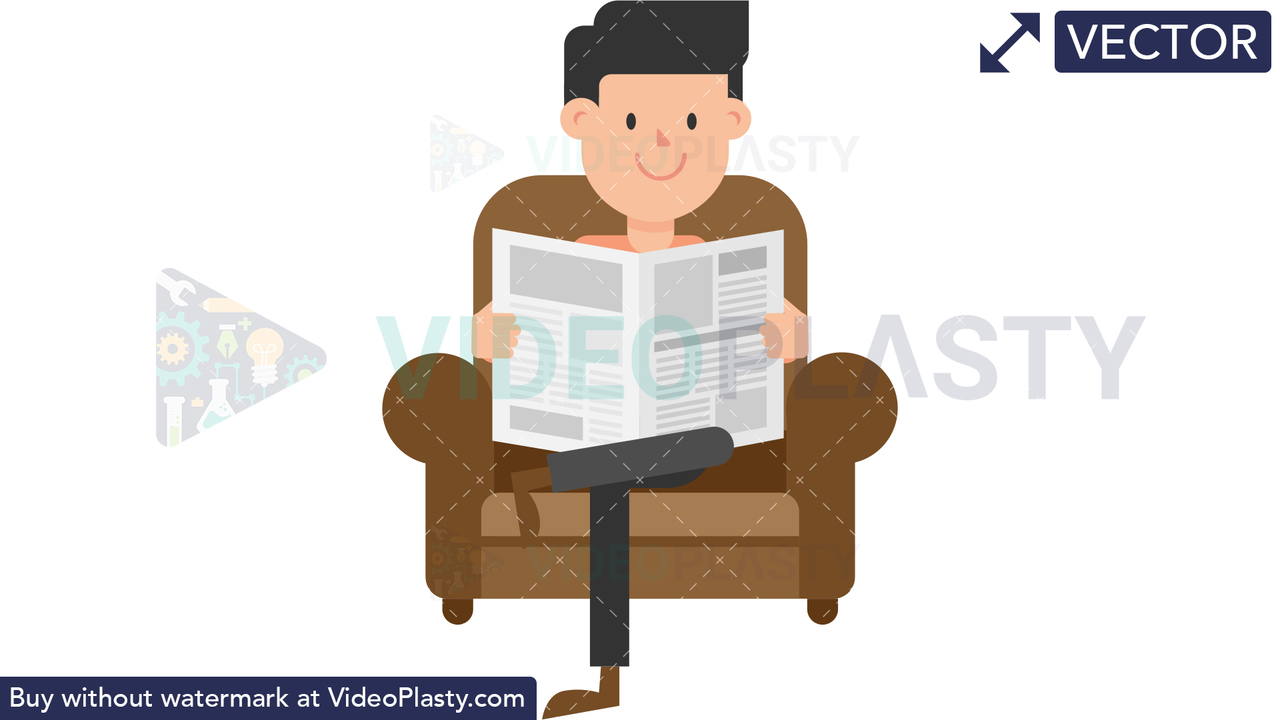 Man Reading the Newspaper on the Couch Vector Clipart