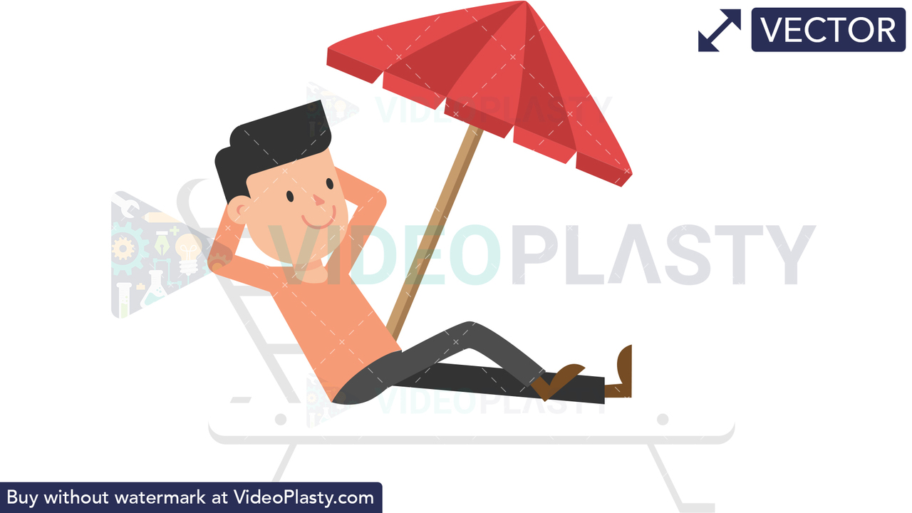 Man Relaxing on the Beach Vector Clipart