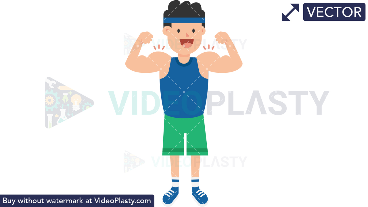 Man Showing Muscles Vector Clipart
