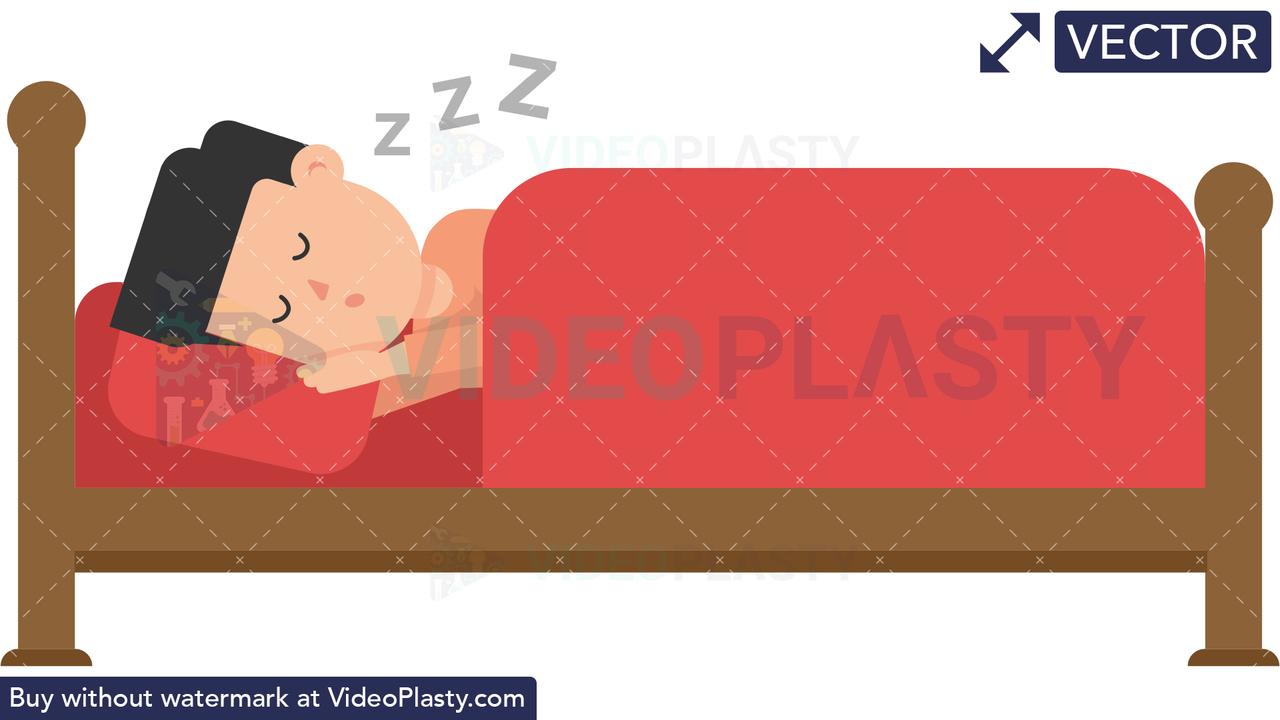 Man Sleeping in Bed Vector Clipart