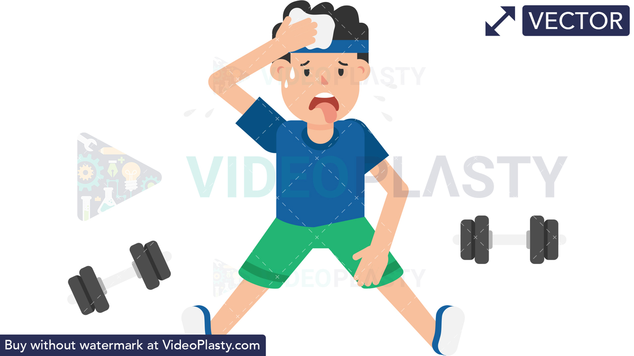 Man Tired After Workout Vector Clipart