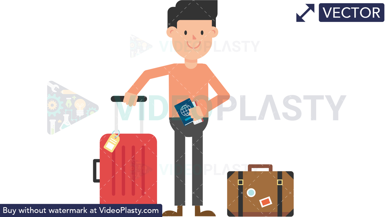 Man Traveling with Luggage Vector Clipart