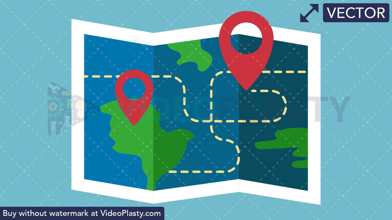 Map Flat Icon Vector Clipart