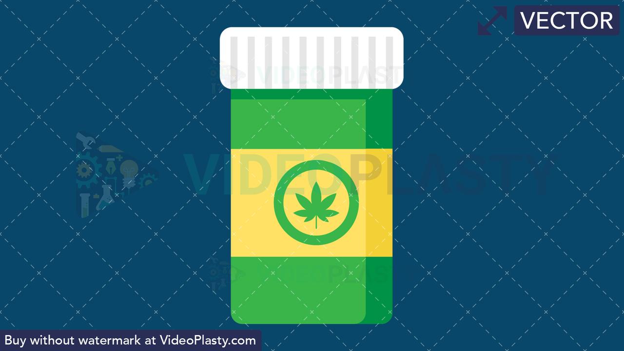 Marijuana Bottle Vector Clipart