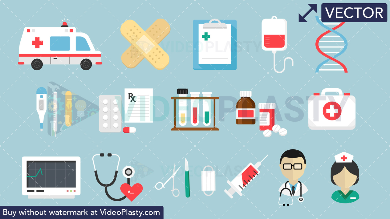 Medical Bundle - 16 Flat Icons Vector Clipart