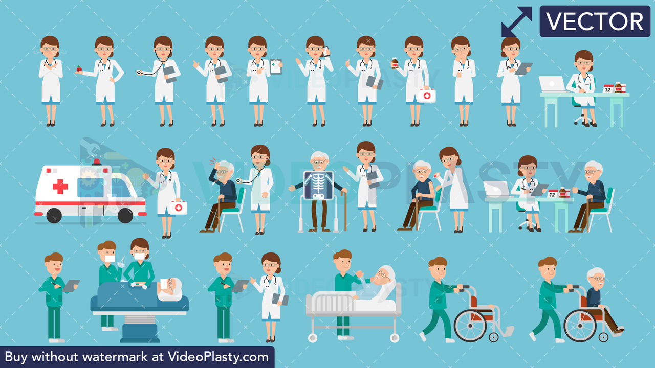 Medical Bundle - 22 Character Actions Vector Clipart