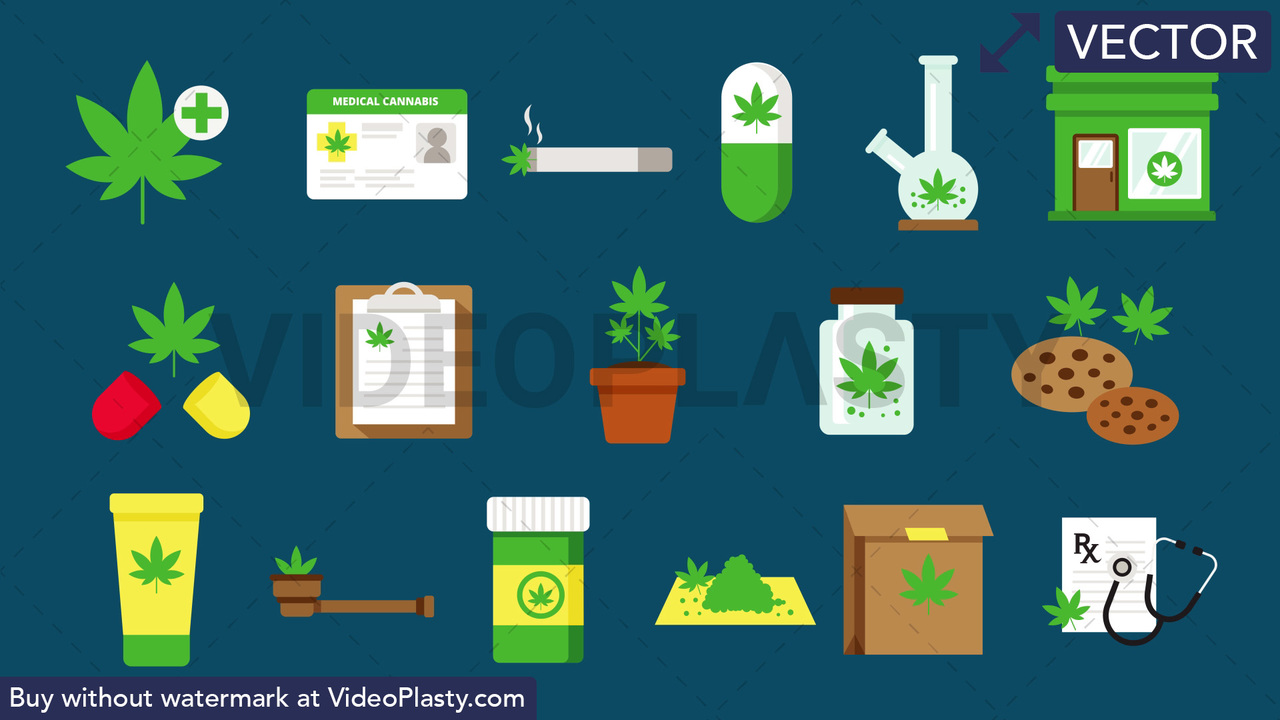 Medical Marijuana Pack - 17 Icons Vector Clipart