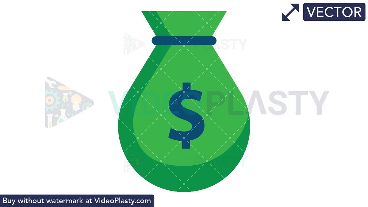 Money Bag Icon - Dollar Vector Clipart