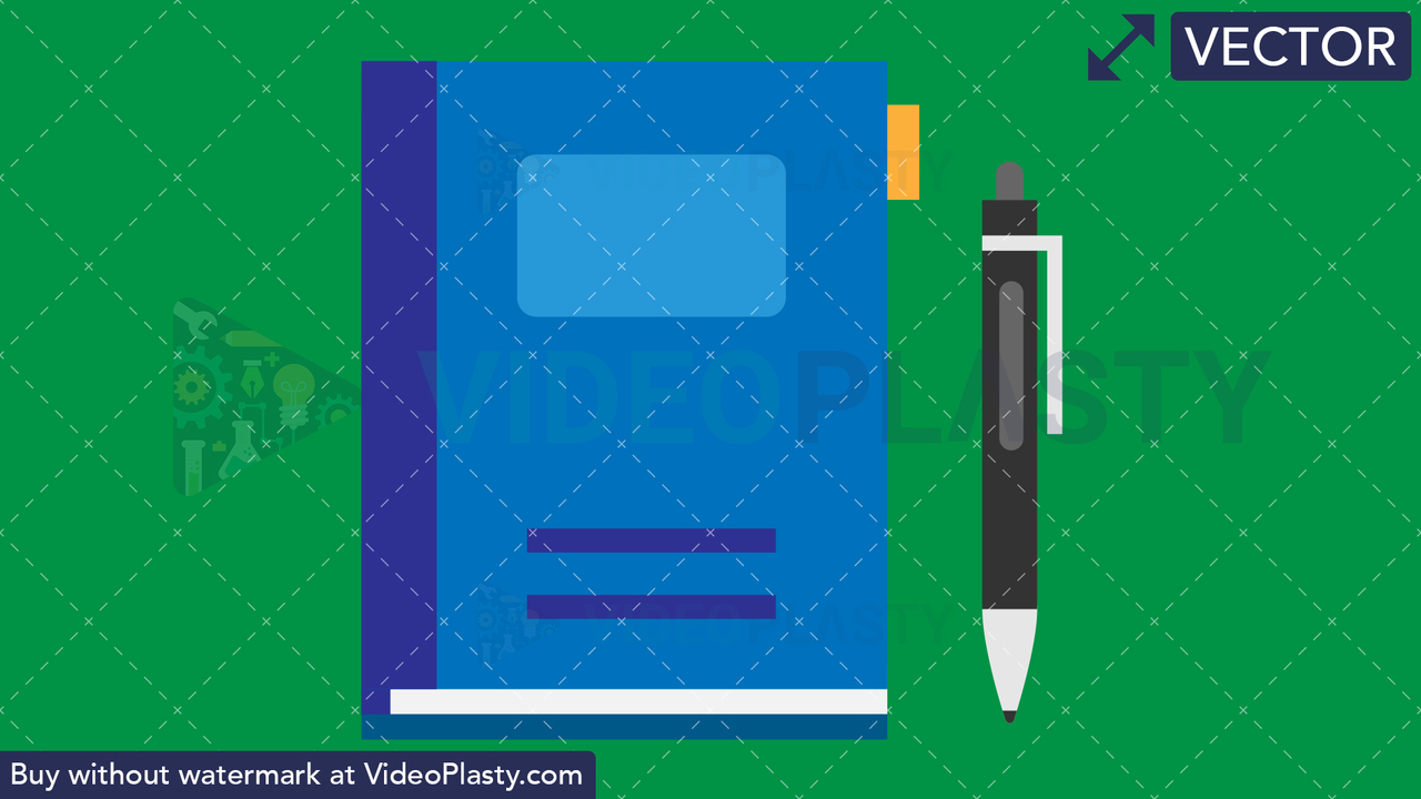 Notebook and Pen Flat Icon Vector Clipart