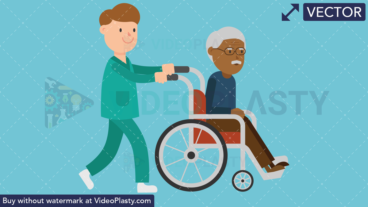 Nurse Pushing a Black Patient on a Wheelchair Vector Clipart
