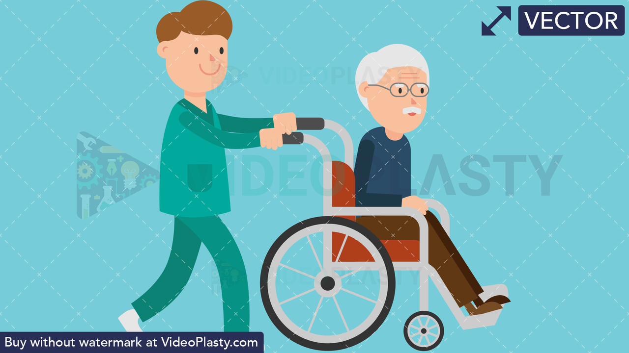 Nurse Pushing a Patient on a Wheelchair Vector Clipart