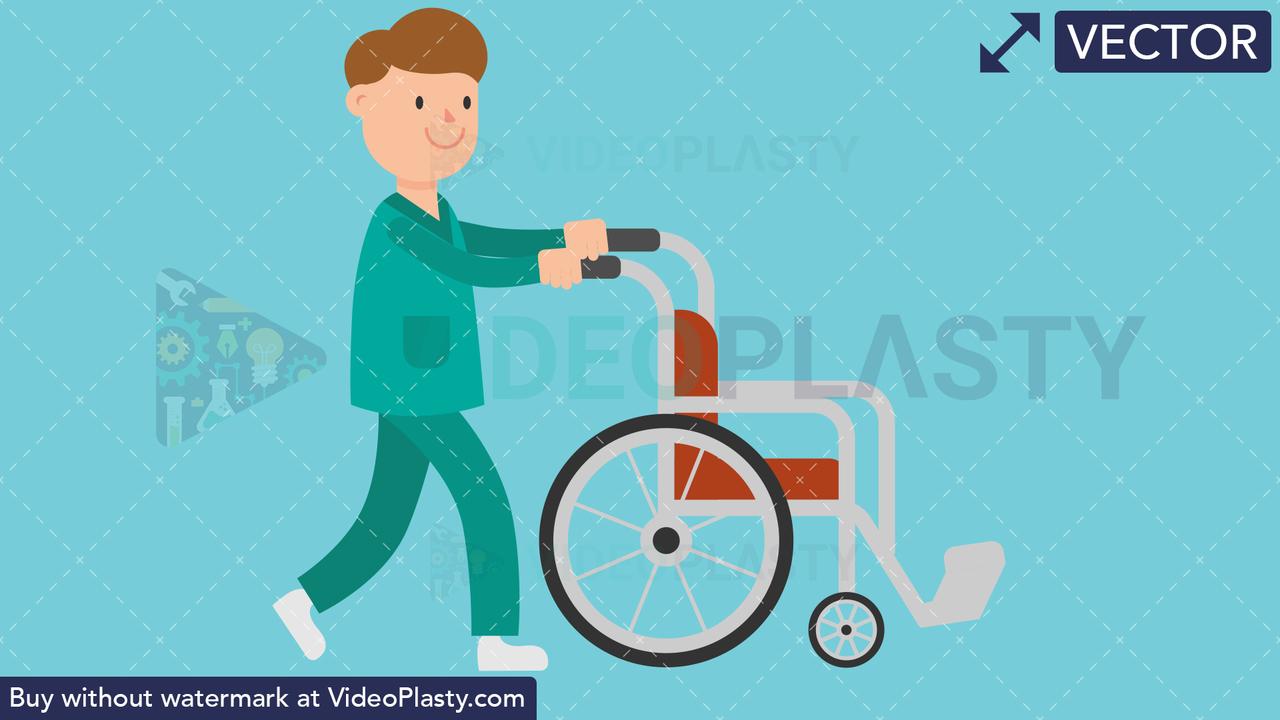 Nurse Pushing Empty Wheelchair Vector Clipart
