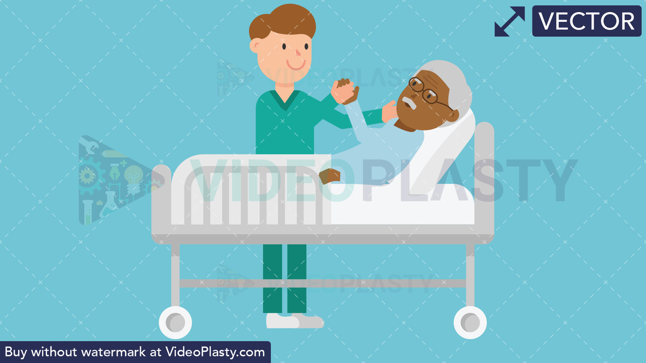 Nurse Taking Care of Black Patient in a Bed Vector Clipart