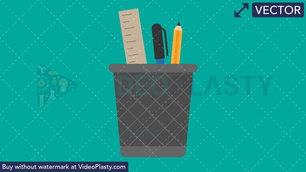 Pencil Holder Flat Icon Vector Clipart