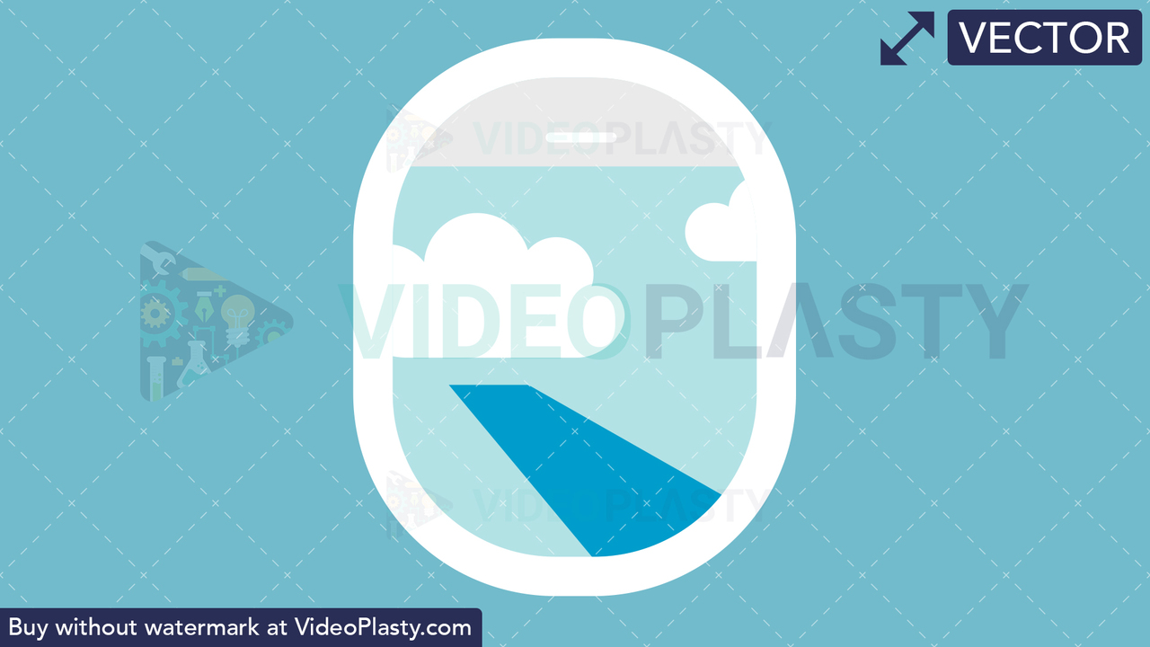Plane Window Flat Icon Vector Clipart
