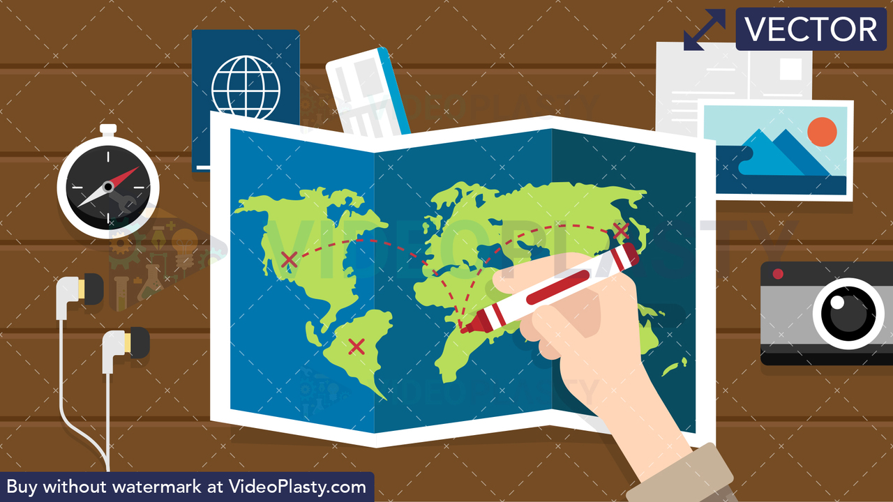 Planning a Trip Scene Vector Clipart