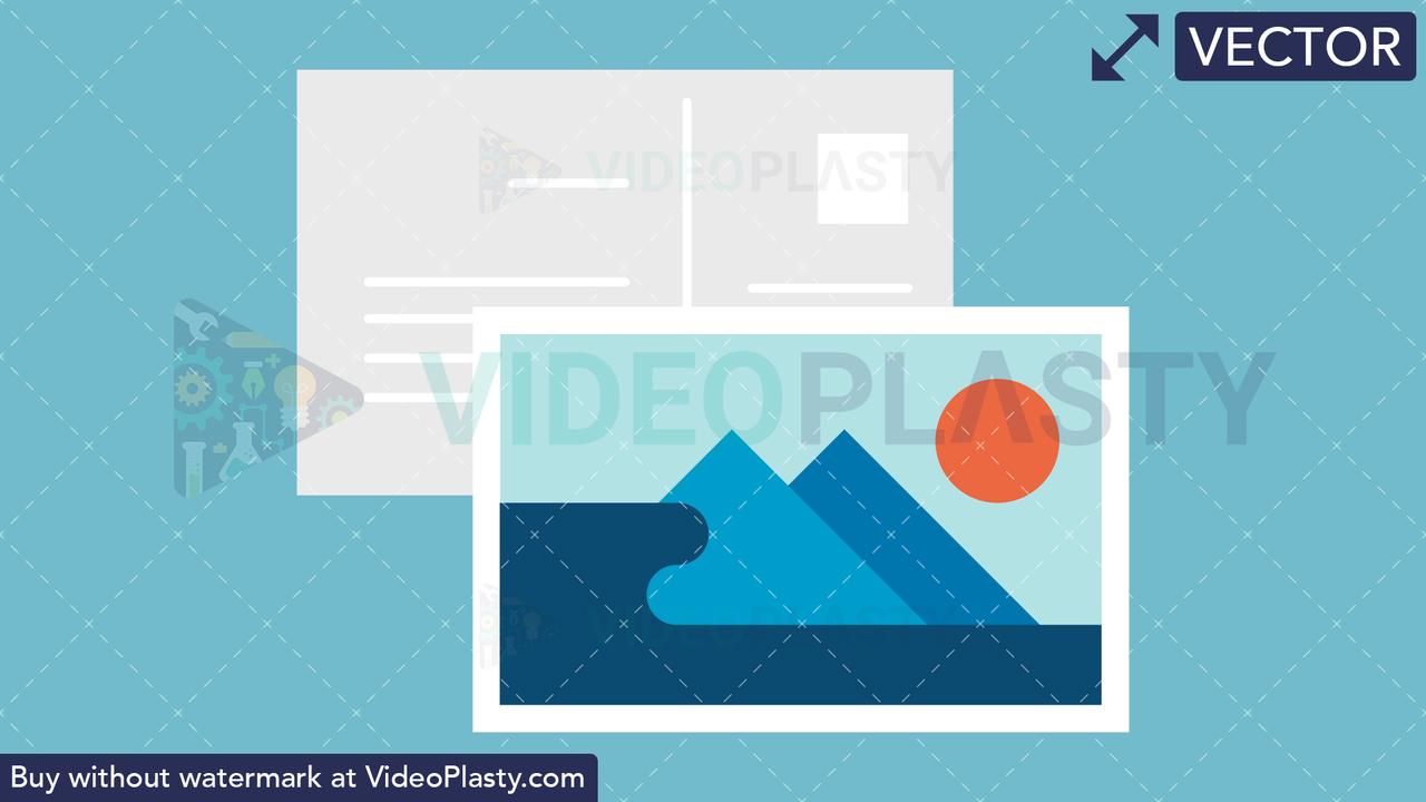Postcard Flat Icon Vector Clipart