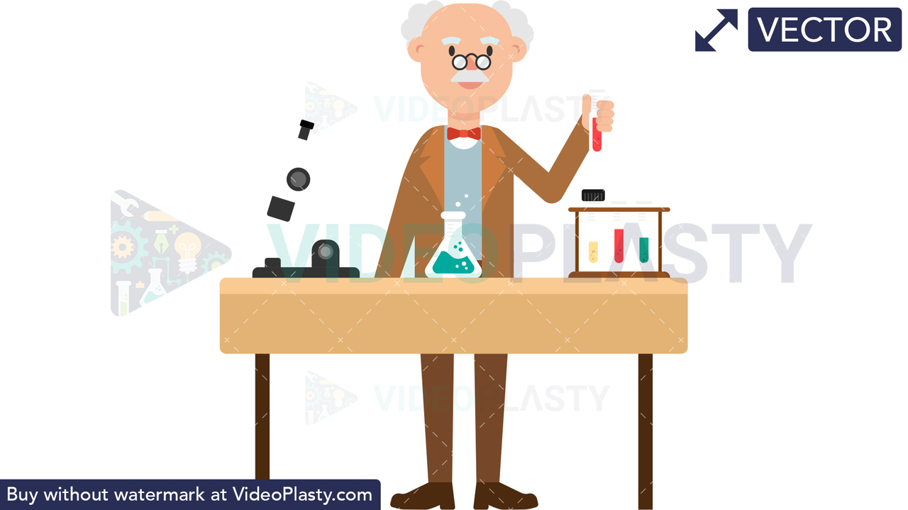 Professor Doing an Experiment Vector Clipart