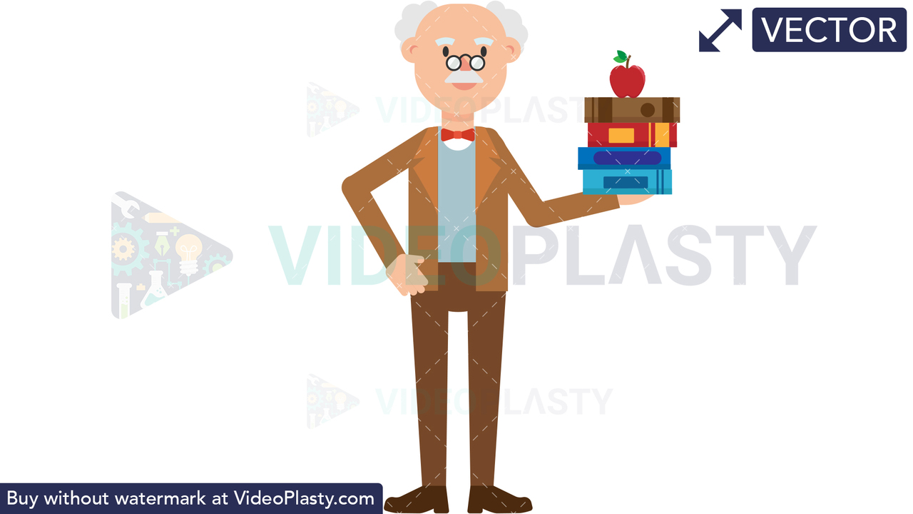 Professor Holding Books Vector Clipart
