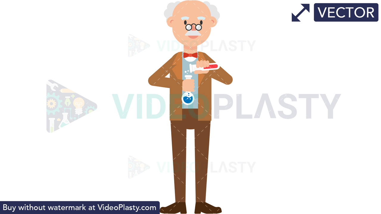 Professor Holding Test Tubes Vector Clipart