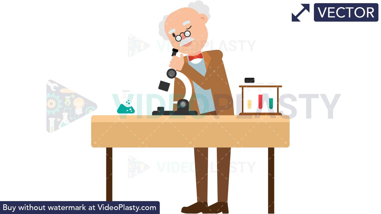 Professor Looking Through Microscope Vector Clipart