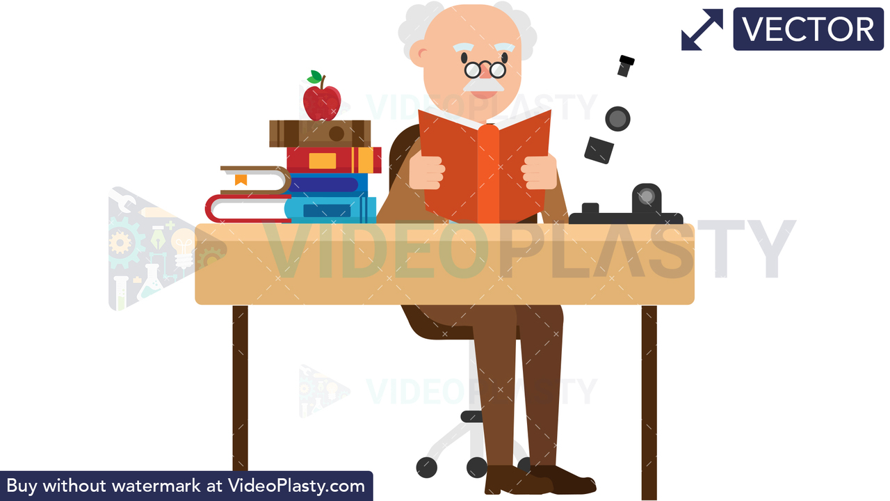 Professor Reading a Book at his Desk Vector Clipart