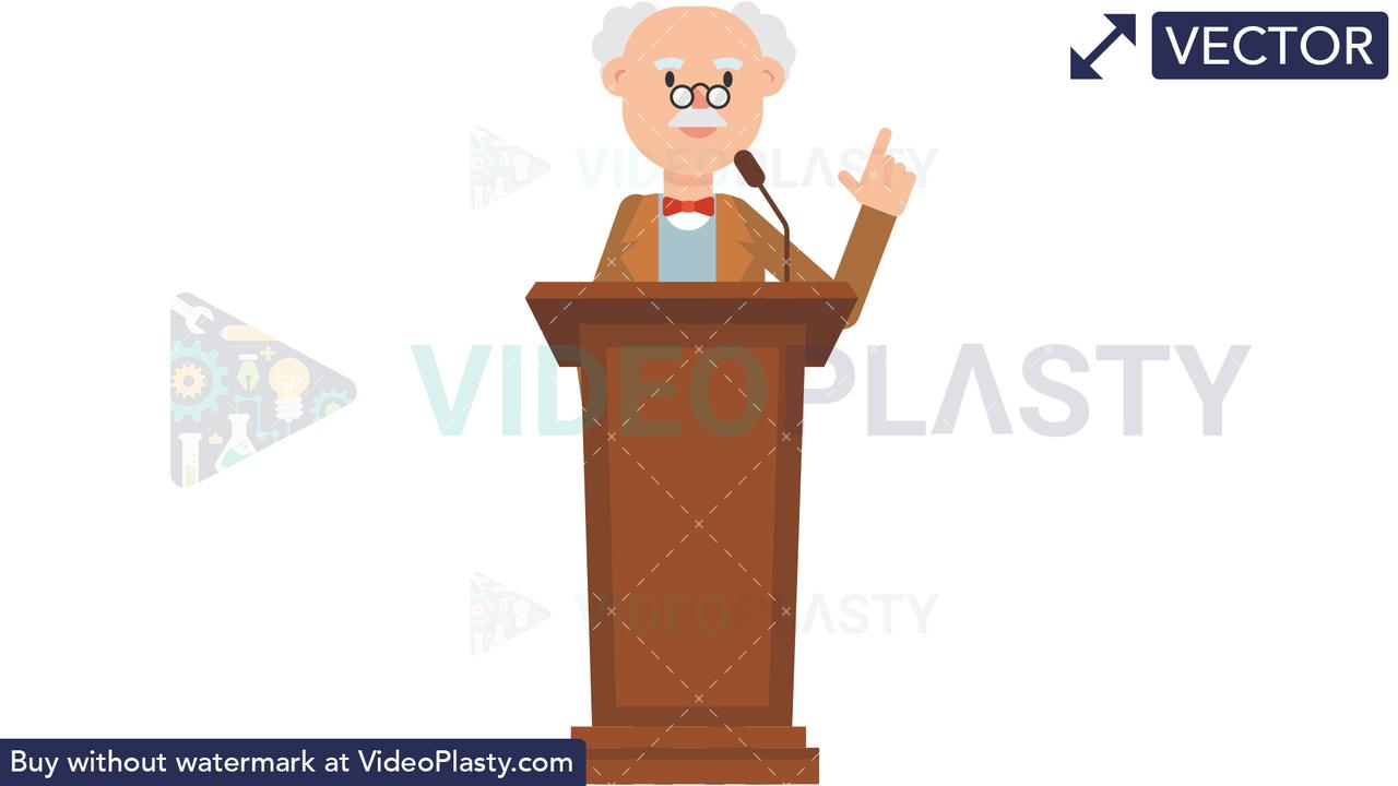 Professor Speaking on the Podium Vector Clipart