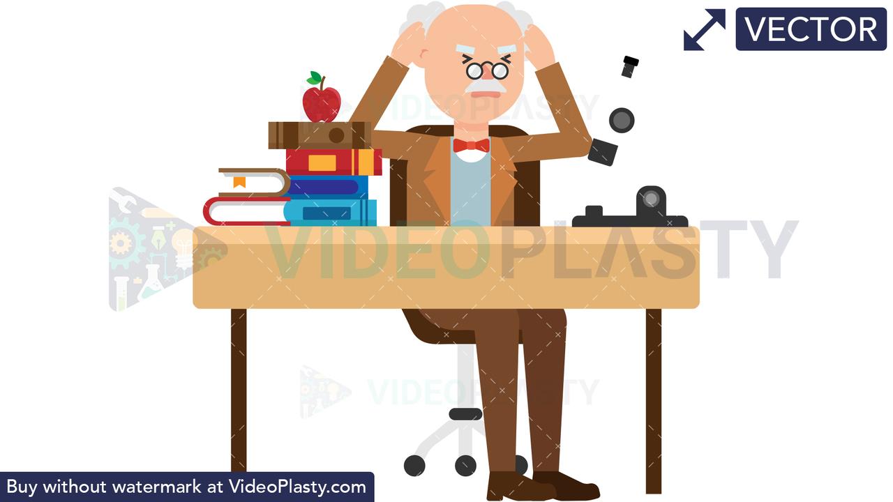 Professor Stressed at his Desk Vector Clipart