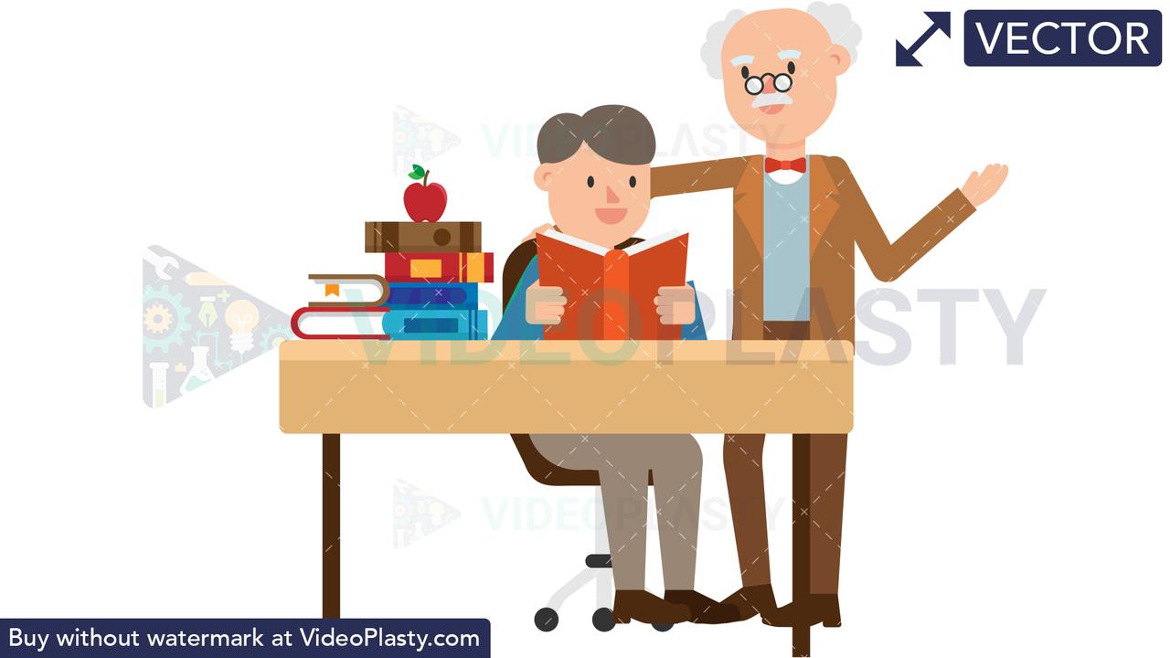Professor Teaching a Student Vector Clipart