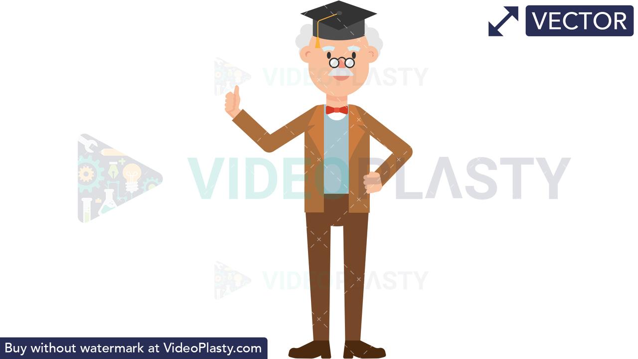 Professor Wearing a Graduation Hat Vector Clipart