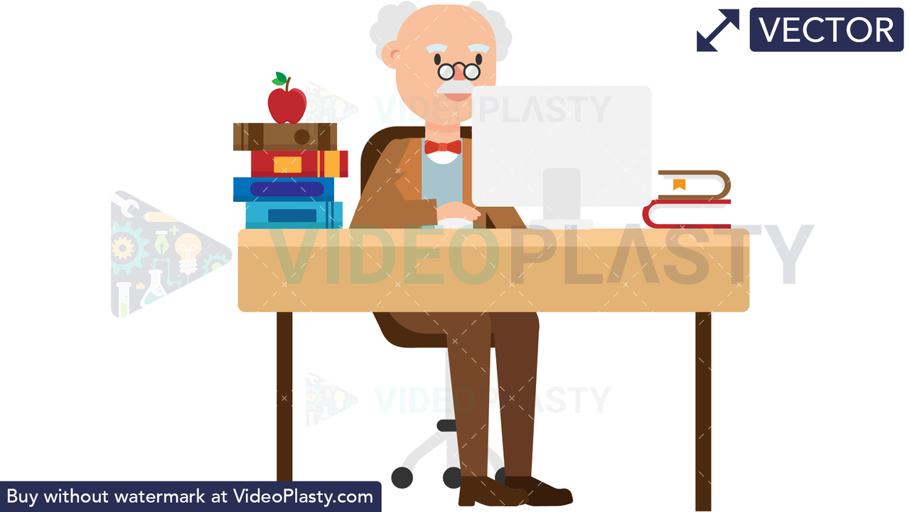 Professor Working at his Desk Vector Clipart