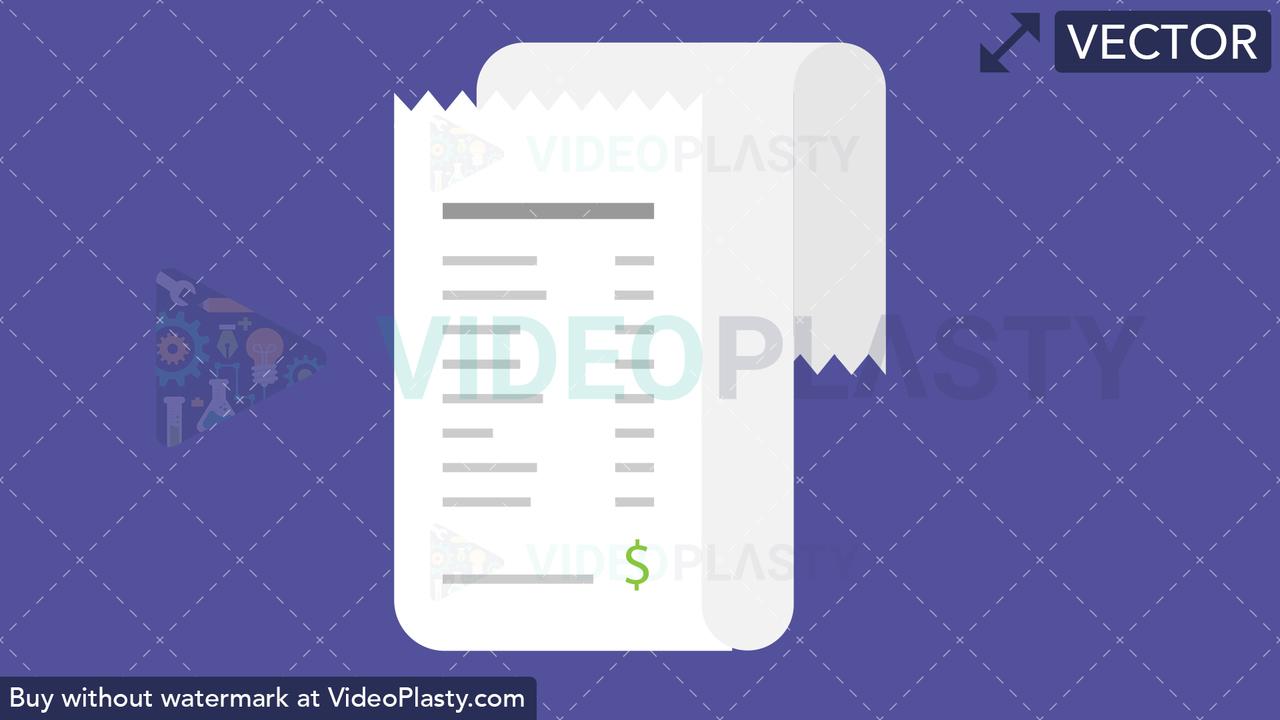 Receipt Flat Icon Vector Clipart
