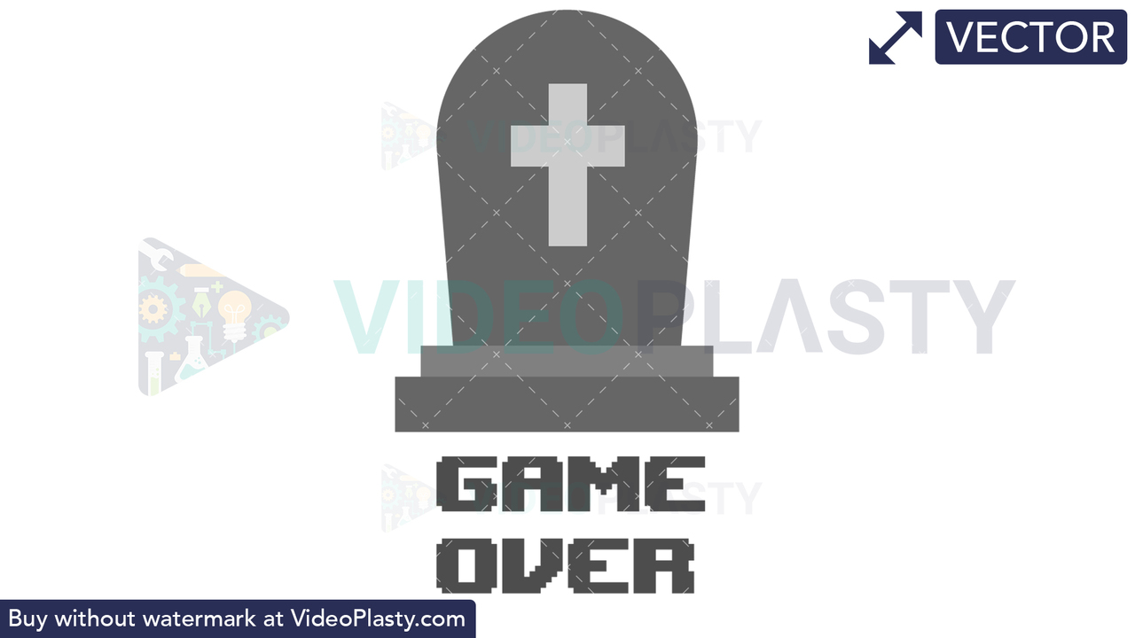 RIP Game Over Icon Vector Clipart