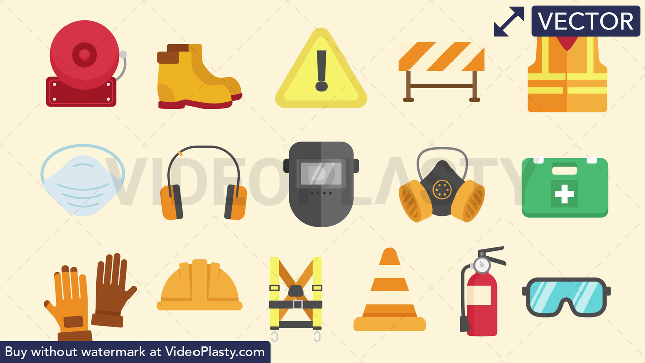 Safety Equipment Pack - 16 Icons Vector Clipart