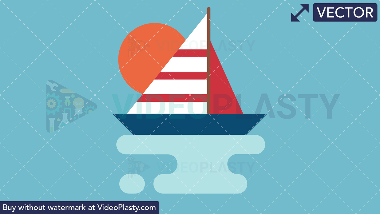 Sailboat Flat Icon Vector Clipart