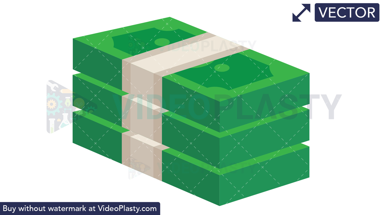 Stack of Money Icon - Dollar Vector Clipart