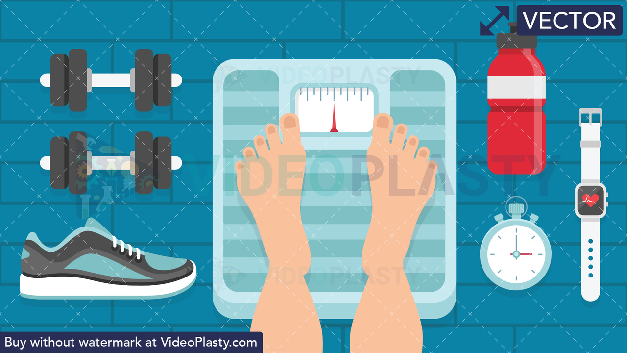 Stepping on Weighing Scale Scene Vector Clipart