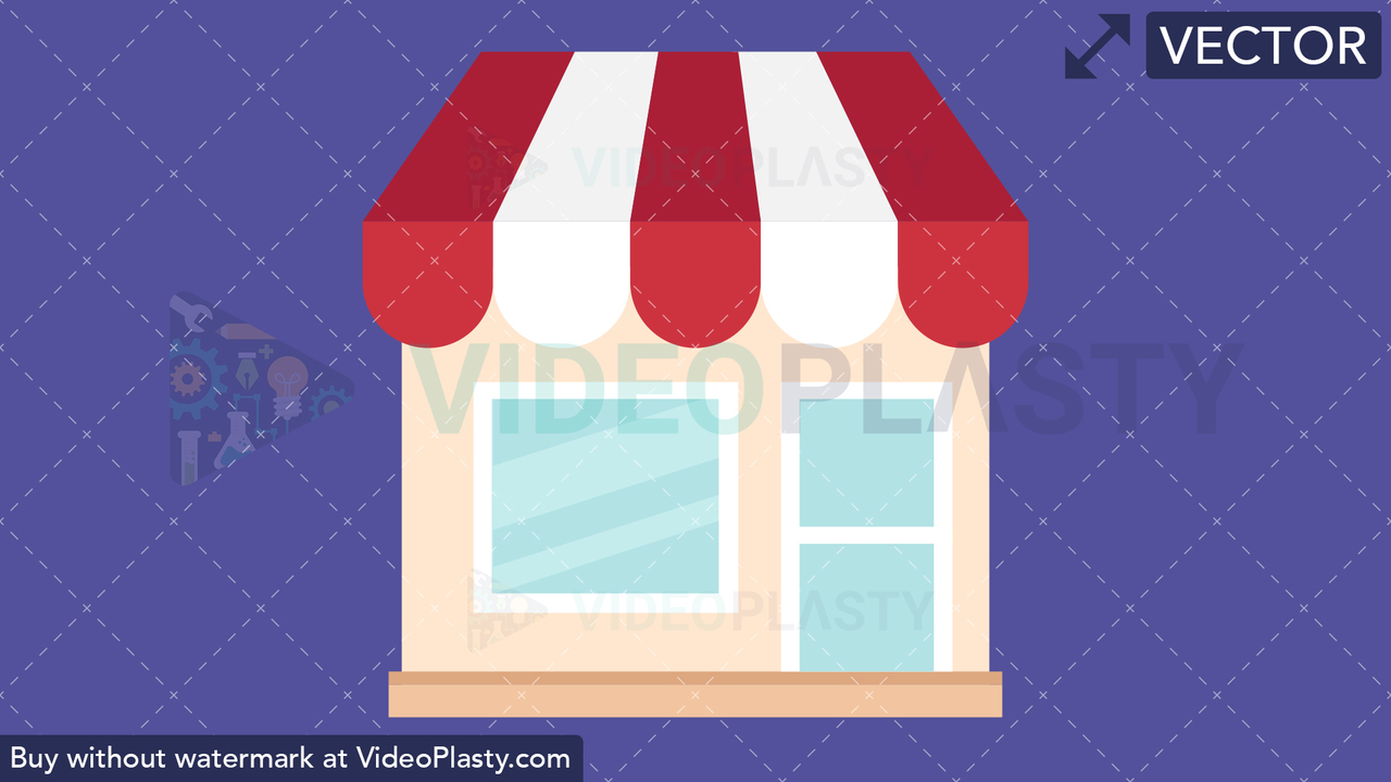 Store Flat Icon Vector Clipart