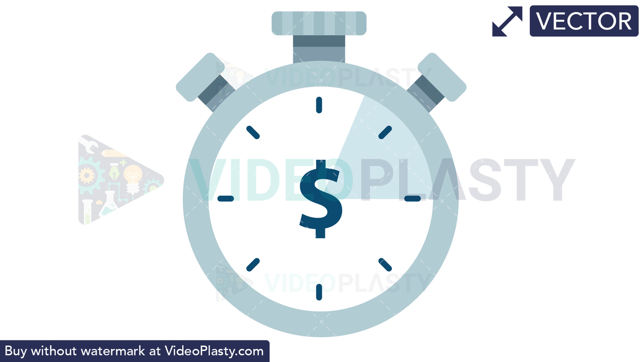 Time is Money Icon - Dollar Vector Clipart