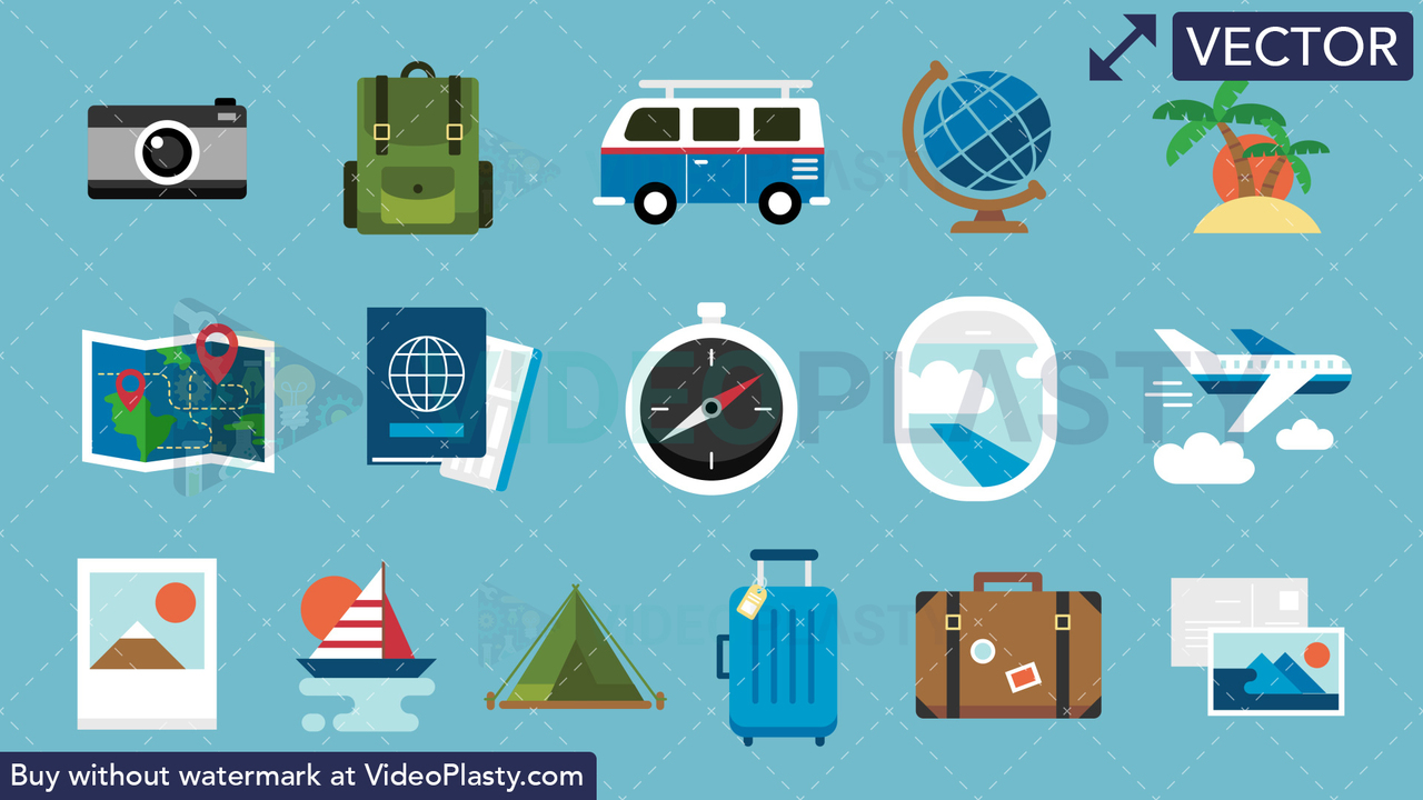Travel Pack 16 Flat Icons Vector Clipart