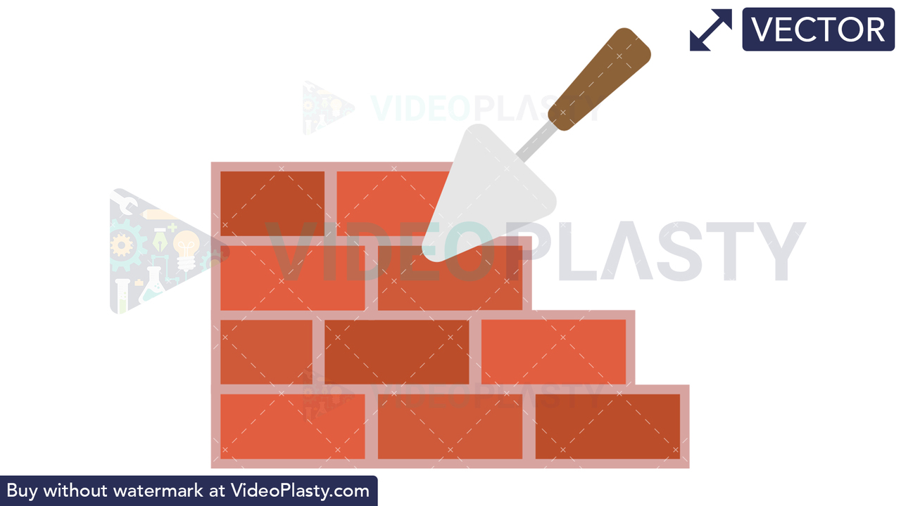 Trowel with Bricks Icon Vector Clipart