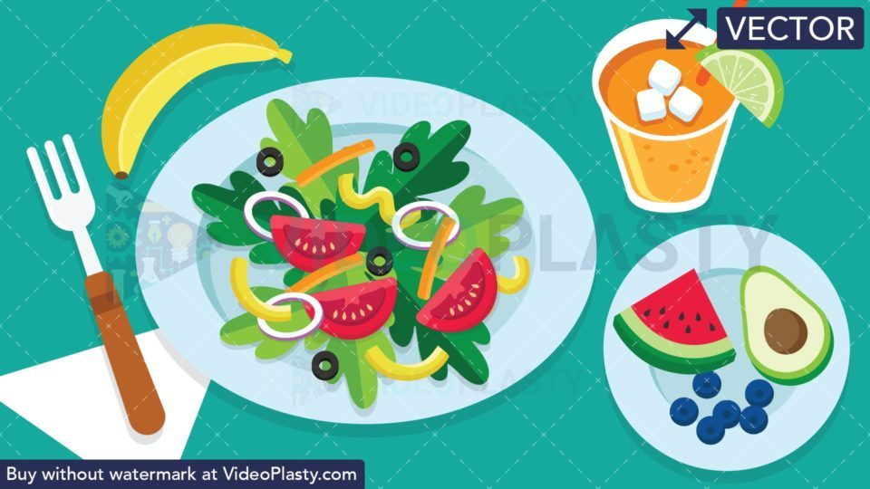 Vegan Food Scene Vector Clipart