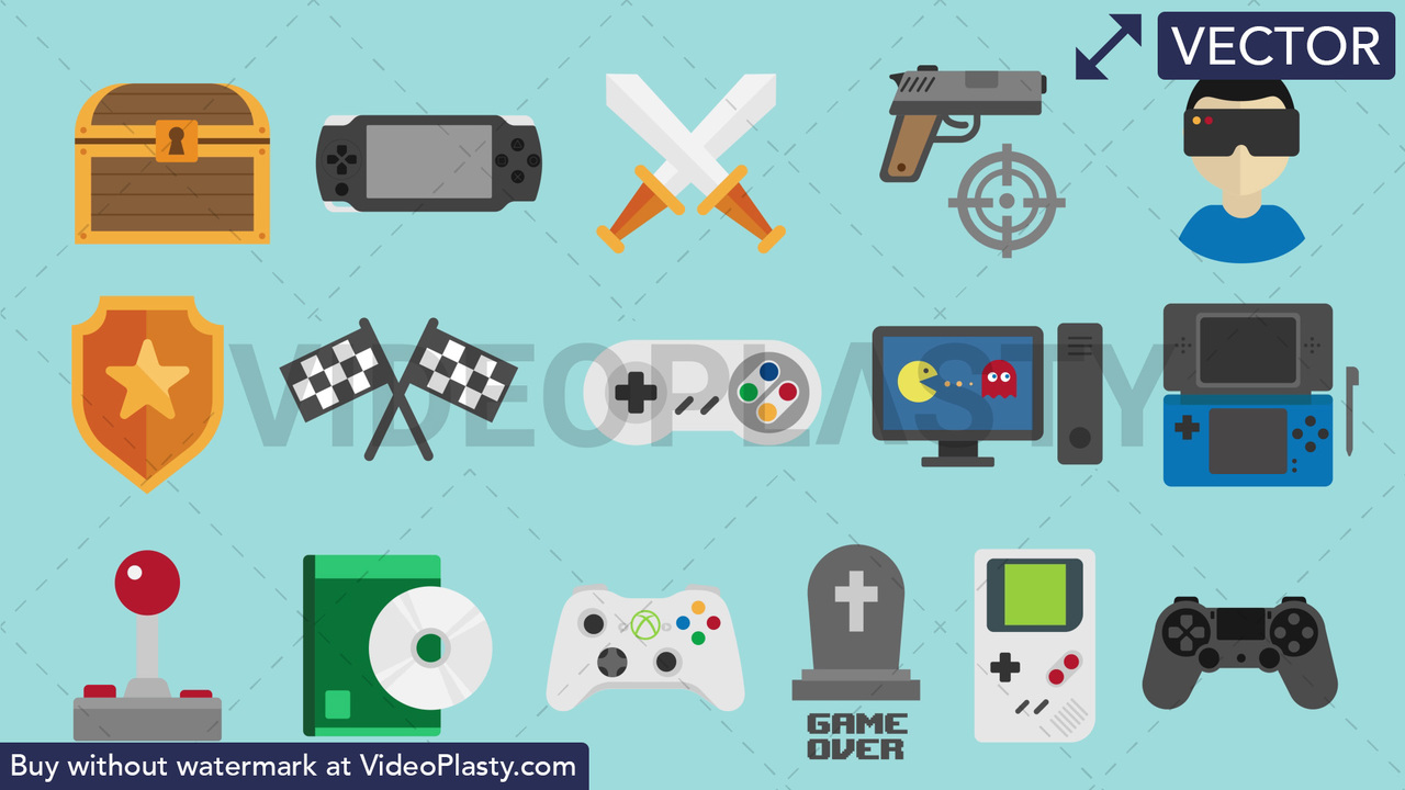 Video Games Pack - 16 Icons Vector Clipart