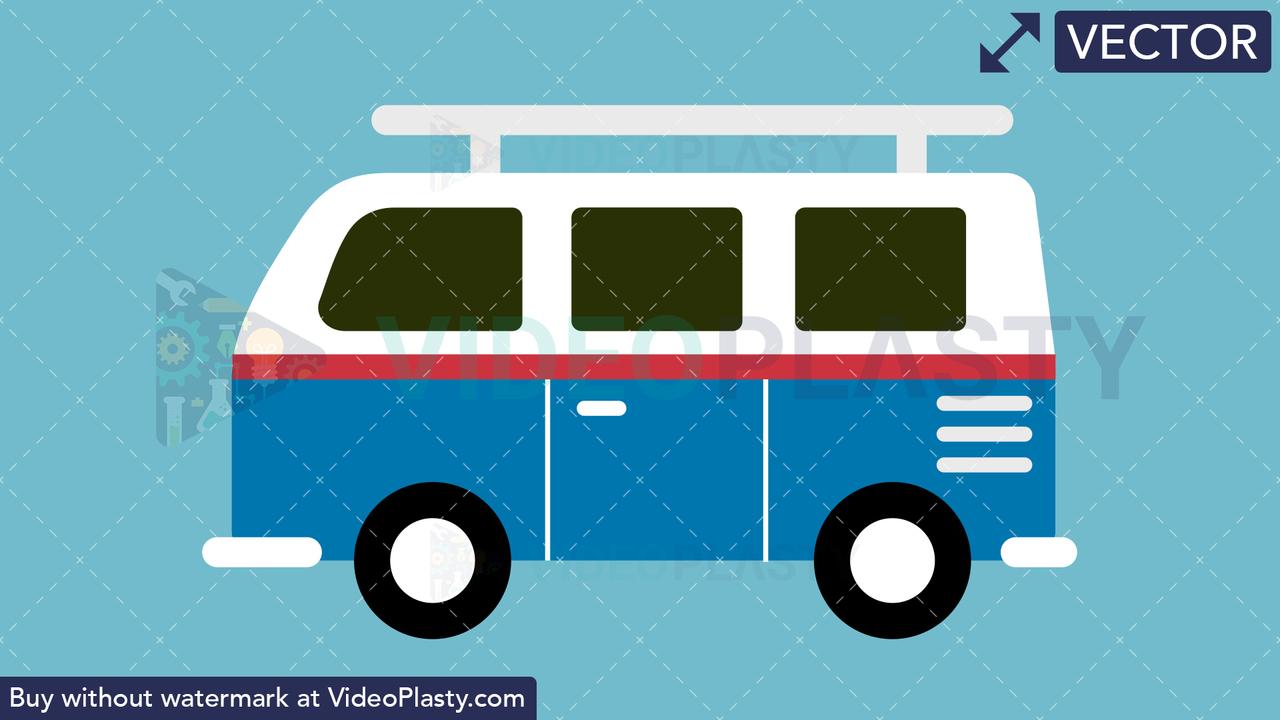 Volkswagen Van Flat Icon Vector Clipart