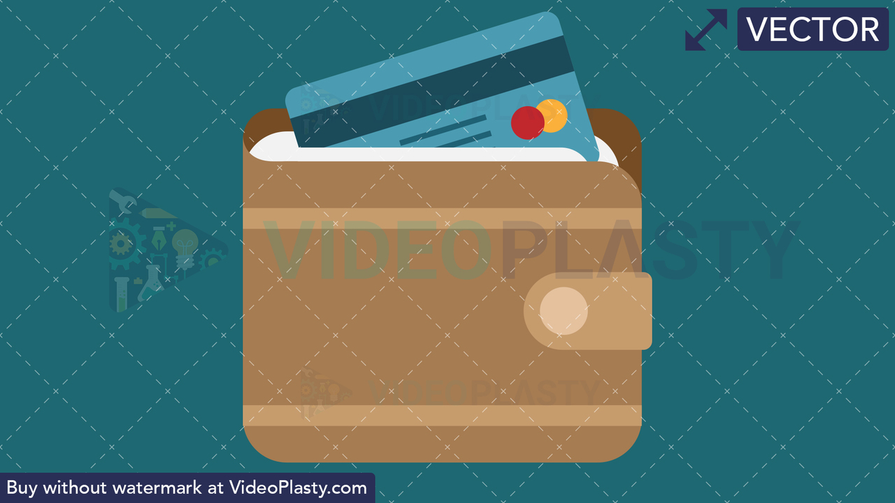 Wallet Flat Icon Vector Clipart