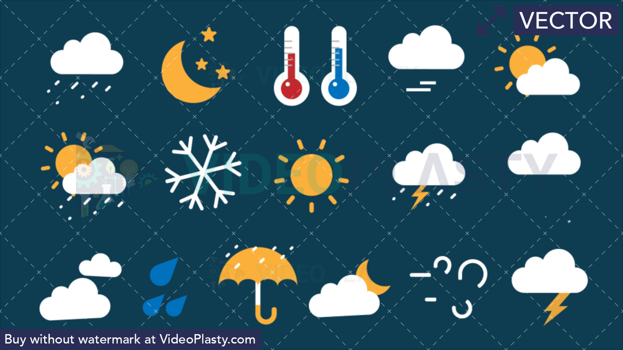 Weather Bundle - 16 Flat Icons Vector Clipart
